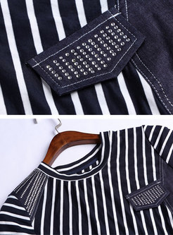 Elegant Striped O-neck Belted A Line Dress