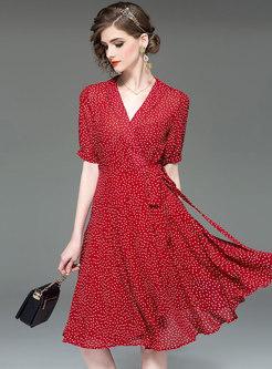 Polka Dot V-neck Tie-waist Slim Skater Dress