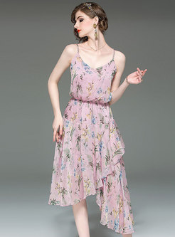 Print Elastic Waist Asymmetric Hem Slip Dress