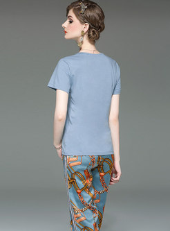 Casual O-neck T-shirt & Print Wide Leg Pants