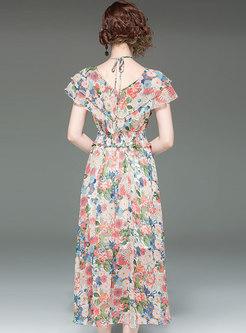 Chic Floral V-neck Gathered Waist Slim Beach Dress