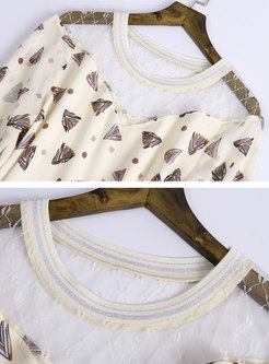 Print Splicing Tie-waist Flare Sleeve Slim Dress