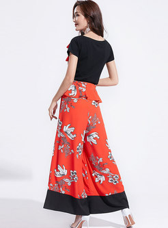 Print Splicing Slim Top & Wide Leg Pants