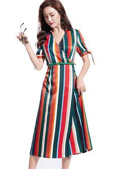Color-blocked V-neck Belted A Line Dress