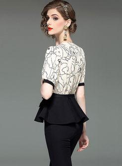 Fashion V-neck Short Sleeve Top & Slim Pants