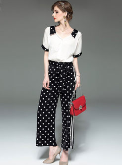 Brief Lapel Polka Dot T-shirt & Wide Leg Pants