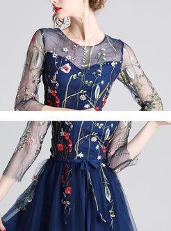 Mesh Embroidered High Waisted Skater Dress