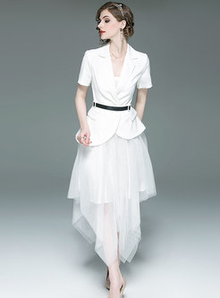 Brief Solid Color Blazer & Mesh Irregular Skirt