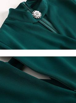 V-neck Half Sleeve Slim Bodycon Mermaid Dress