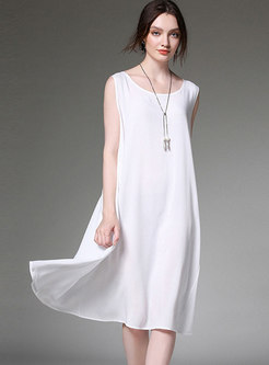 Solid Color O-neck Sleeveless Loose Dress