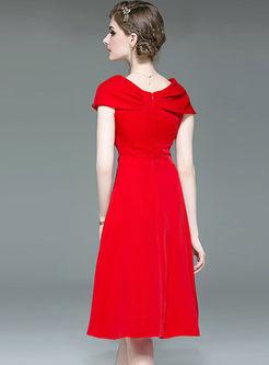 Elegant Slash Neck Cocktail A Line Dress