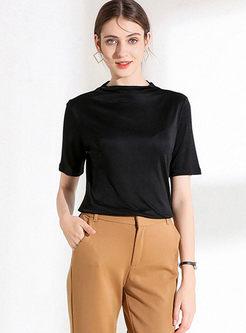 Brief Solid Color Slim Plus Size T-shirt
