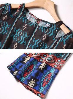 Vintage O-neck Tied Printed Chiffon Maxi Dress