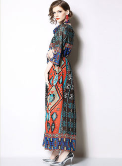 Vintage O-neck Tied Printed Chiffon Maxi Dress
