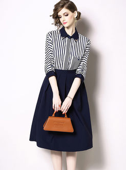 Lapel Diamond Striped Blouse & Big Hem Skirt