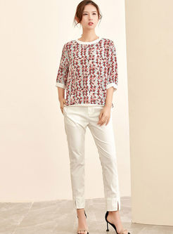 Three Quarters Sleeve Print Silk T-shirt