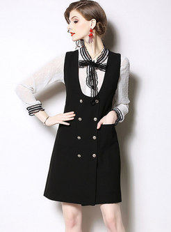 Fashion Lace Bowknot Top & Black Sleeveless A Line Dress