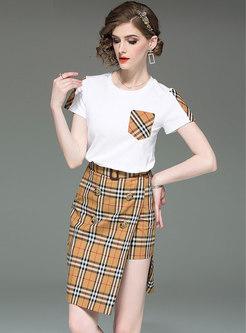 Brief Splicing O-neck T-shirt & Striped Split Skirt