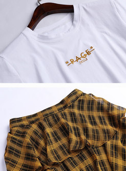 White T-shirt & High Waist Striped Yellow Skirt