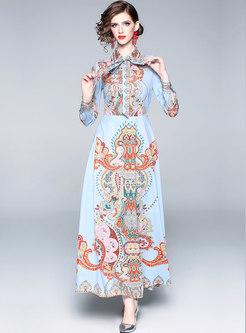 Vintage Print Lapel High Waist Slim Maxi Dress