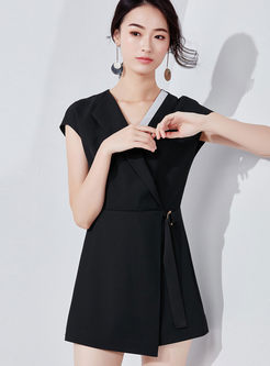 Fashion High Waist Slim Asymmetric Rompers
