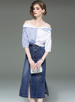 Chic Slash Neck Splicing Top & Denim Sheath Skirt