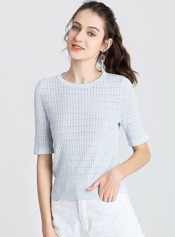 Brief Light Blue Short Sleeve Knitted Sweater