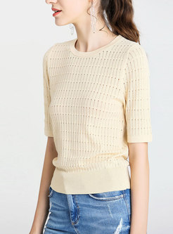 O-neck Light Apricot Short Sleeve Sweater