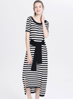Black Striped Split Loose Belted T-shirt Dress