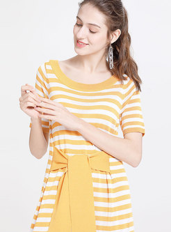 Yellow Striped Tied Loose T-shirt Dress