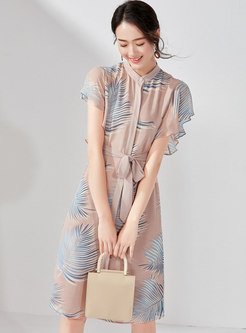 Print Stand Collar Belted Midi Dress