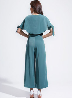 Elegant Color-blocked O-neck Bowknot Top & Wide Leg Pants