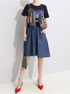 Trendy Splicing O-neck Slim T-shirt Dress