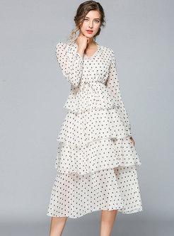 Long Sleeve Polka Dot V-neck A Line Layered Dress