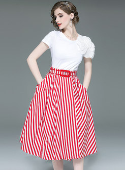 Brief White T-shirt & Striped Big Hem Skirt