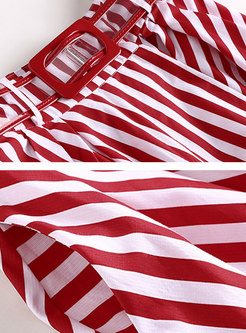 Brief White T-shirt & Striped Big Hem Skirt
