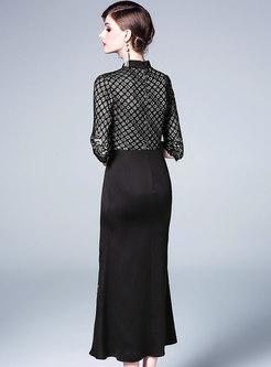Embroidered Splicing Mandarin Collar Bodycon Dress