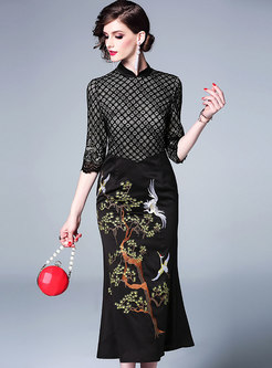 Embroidered Splicing Mandarin Collar Bodycon Dress