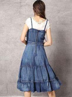 Retro Embroidered High Waist Sling Dress