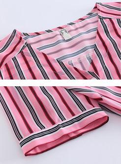 V-neck Striped Top & High Waist A Line Dress
