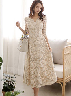 Stylish V-neck Long Sleeve Lace Big Hem Dress