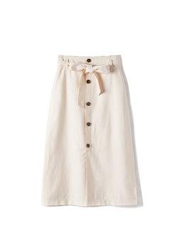 Pure Color High Waist Belted Slit Skirt