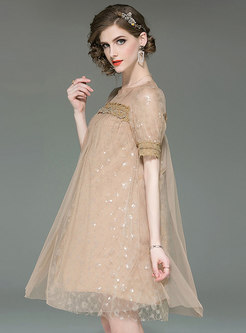 Trendy Splicing Sequins Perspective Shift Dress