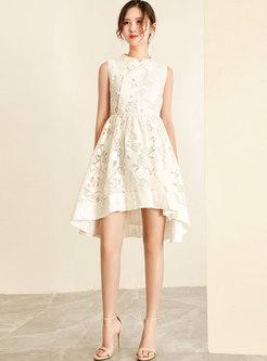 Chic Asymmetric Jacquard High Waist Skater Dress