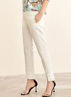 Stylish All-matched Split White Straight Pants