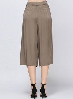 Casual Elastic Waist Wide Leg Pants