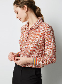 Chic Print Lapel Single-breasted Blouse