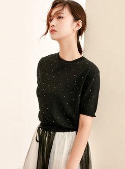 O-neck Diamond Loose Black Daily T-shirt