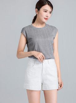 Stylish High Waist Loose Straight Shorts