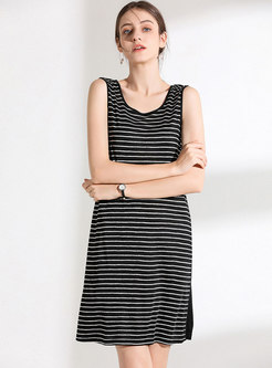 All-matched Striped O-neck Sleeveless Bodycon Dress